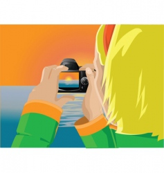girl photographing sunset vector image