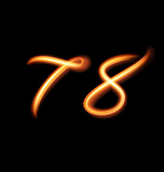 glowing light number seven and eight hand vector image