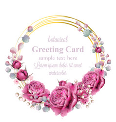 Gold card frame with rose flowers watercolor vector