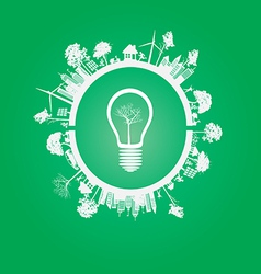Green Eco Earth On green Background vector