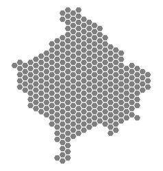 Grey hexagon kosovo map vector