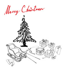 hand drawn of santa hat with sleigh and gifts vector image
