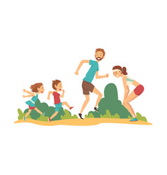 happy family walking in park father mother vector image