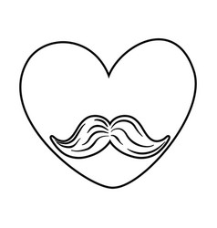 heart with moustache black and white vector image