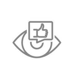 human eye with thumb up in chat bubble line icon vector image