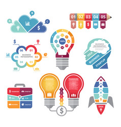 infographics concepts with various shapes bulb vector image