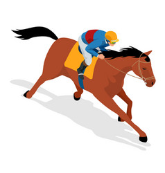 Isometric jockey on horse champion horse riding vector