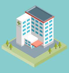 isometric medium hospital buiding health and vector image