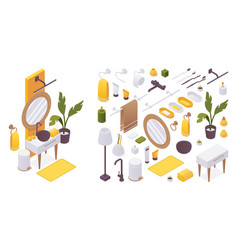 isometric set furniture for bathroom like vector image