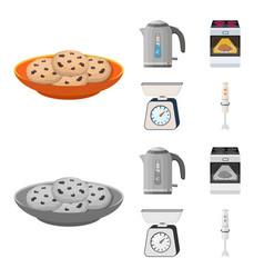 Kitchen equipment cartoonmonochrome icons in set vector