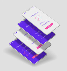 Mobile app ui sign in and sign up screens 3d vector