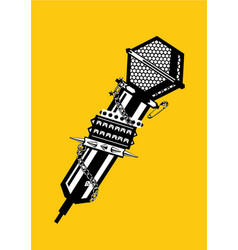 Music poster with microphone black and white vector