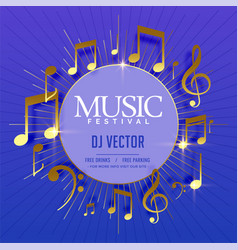 musical flyer template with golden sound notes vector image