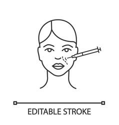 Nasolabial folds neurotoxin injection linear icon vector