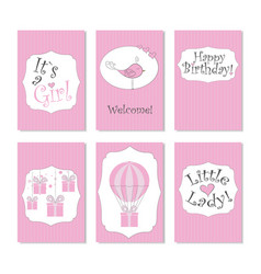newborn set cardsits a girl vector image