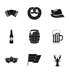 Oktoberfest icons set simple style vector