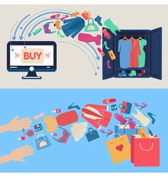 Online Shopping Concept Mobile marketing vector