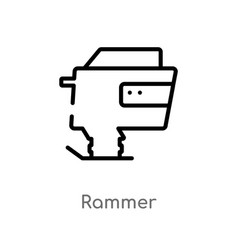 Outline rammer icon isolated black simple line vector