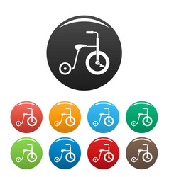 plastic tricycle icons set color vector image