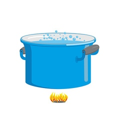 Pot boiling water on fire cooking food blue vector