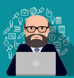 Professor teacher man with a beard working on vector
