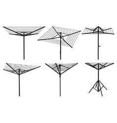 Rotary washing line silhouettes vector