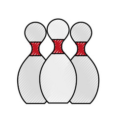 Scribble bowling pins cartoon vector