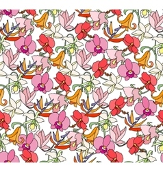 Seamless bright floral pattern with different vector