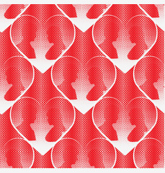 seamless halftone dot pattern with hearts white vector image