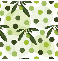 seamless pattern with green olive tree vector image