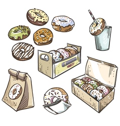selection donuts vector image