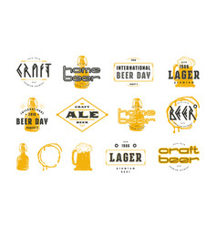 Set craft beer label and logo vector