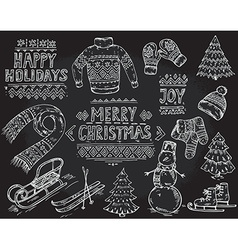 set of black and white hand drawn Christmas vector image