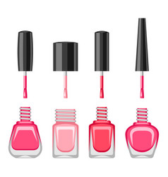 Set of bottles with nail polish vector