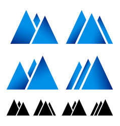 Set of pike mountain peek symbols for alpine vector
