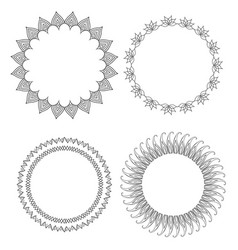 set of round doodle frames with different patterns vector image