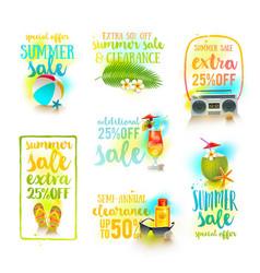 set of season sale summer holidays designs vector image