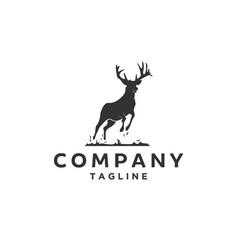 silhouette of deer logo vector image