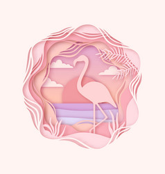 silhouette of flamingo in origami style paper cut vector image
