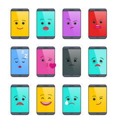 smartphone with funny emoticons isolated set vector image