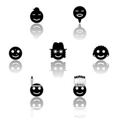 Smiles emoticon icons set vector