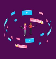 social communication internet networks concept 3d vector image