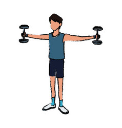Sport man dumbbell fitness active lifestyle vector