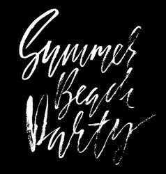 Summer beach party ink hand drawn lettering vector