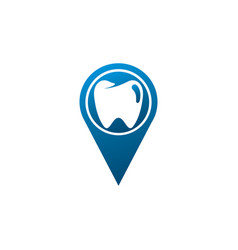 teeth care symbol in pin shape for dentist vector image
