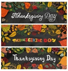 Thanksgiving day bannersAutumn leavesChalkboard vector image