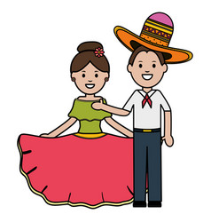 traditional mexicans couple with mariachi hat vector image