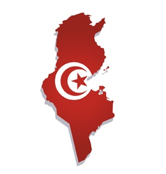 tunisia africa map flag vector image