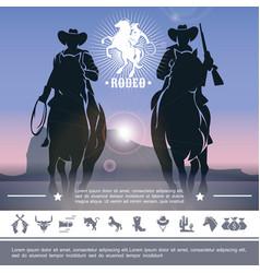 vintage cowboy rodeo concept vector image