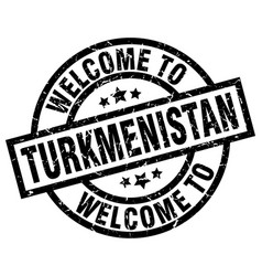 welcome to turkmenistan black stamp vector image vector image